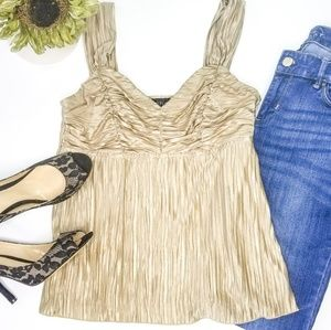 Pleated gold cami blouse